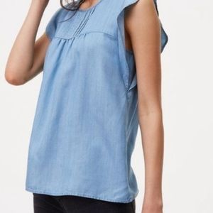 Loft Flutter Sleeve Pleated Chambray Top
